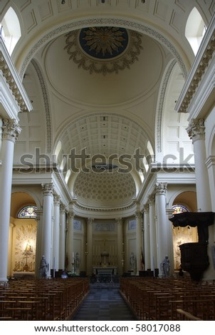 Interior of St Jacob Church Brussels - stock photo