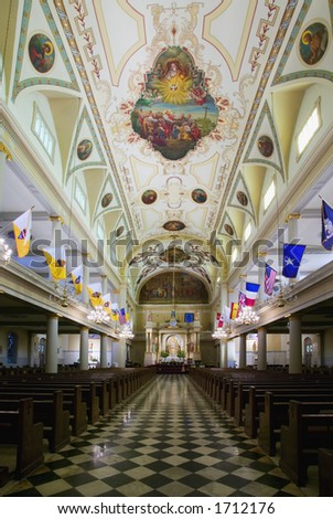 Interior of St. Louis Cathedral in Jackson Square New Orleans, Louisiana, United States - stock photo