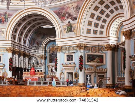 Interior of  St. Mary christianity church  at Mosta.   Malta - stock photo