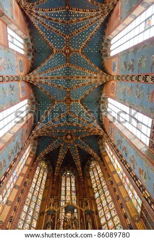 Interior of St. Mary's Basilica, a Brick Gothic church re-built in the 14th century (originally built in the early 13th century), adjacent to the Main Market Square in Kraków, Poland. - stock photo
