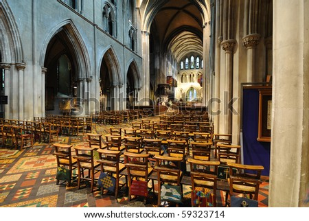 Interior of St. Patrick's Cathedral in Dublin, Ireland. - stock photo
