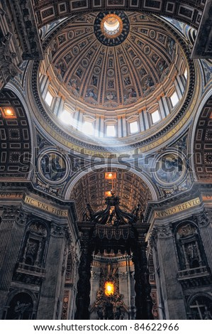 Interior of St. Peter's Cathedral, Vatican City. Italy - stock photo