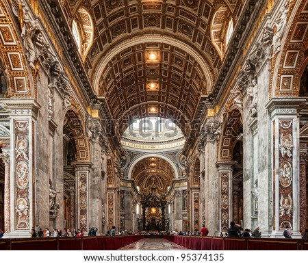 Interior of St. Peters Basilica - stock photo