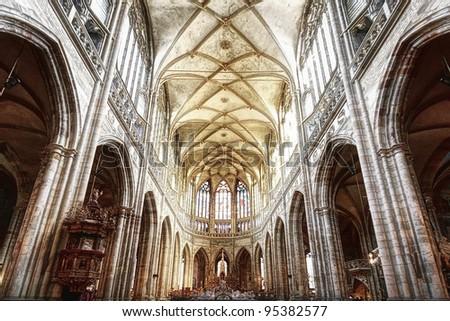 Interior of St. Vitus Cathedral in Prague - stock photo