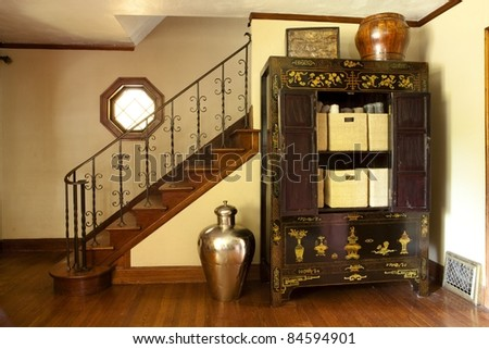 Interior of stairs and storage case - stock photo