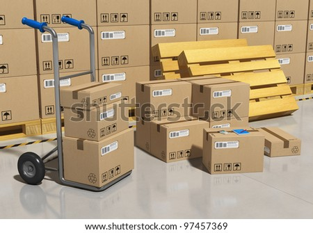 Interior of storage warehouse with goods packaged in cardboard boxes and hand truck - stock photo