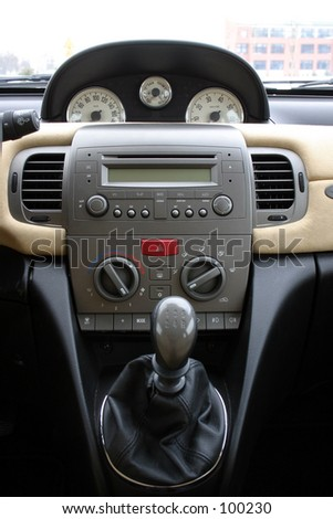 interior of stylish italian car - stock photo