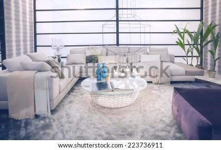 interior of stylish living room  - stock photo