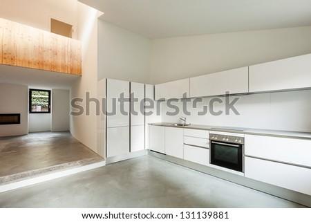 Interior of stylish modern house, kitchen view - stock photo
