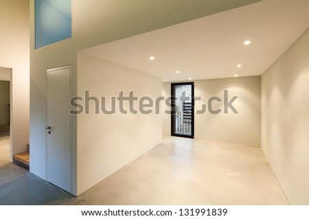Interior of stylish modern house, wide room - stock photo
