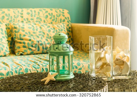 Interior of stylish sofa bed with cushions in a modern living room./ Living Room Interior Design. - stock photo