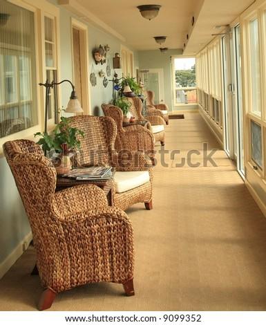 interior of sun room - stock photo