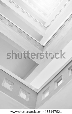 interior of tall building, isolated on white background