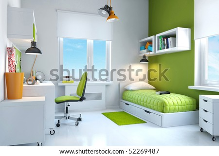 Interior of teenager. - stock photo