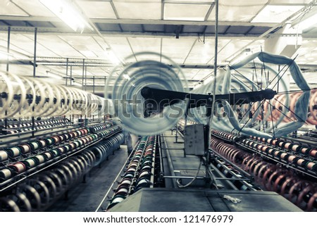 interior of textile mill - stock photo