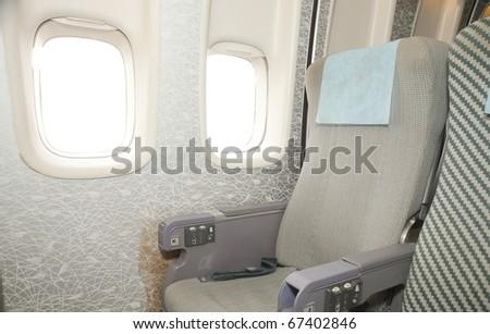 interior of the airplane - stock photo