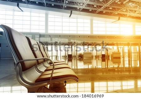Interior of the airport - stock photo