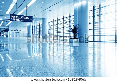 Interior of the airport in pudong shanghai china