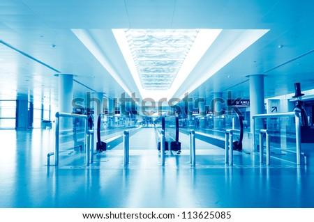 Interior of the airport in pudong shanghai china - stock photo