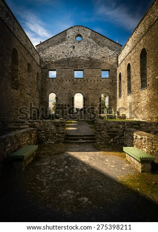 Interior of the ancient ruins of St Raphael church, a national historic site in South Glengarry, Ontario Canada. - stock photo