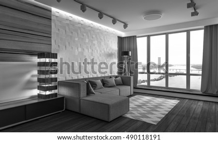 interior of the apartment with paneling and a beautiful view from the window. 3D rendering