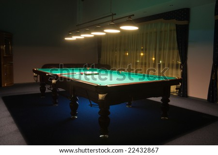 Interior of the  billiard room with - stock photo