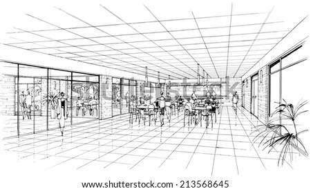 interior of the cafe - stock photo