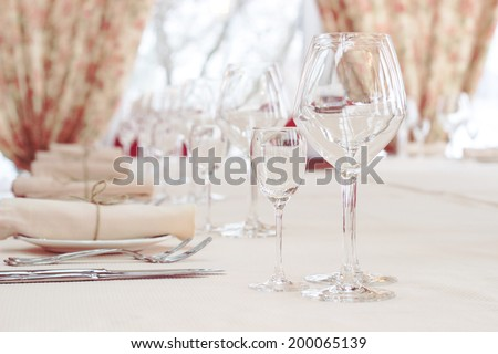 interior of the cafe in the style of Provence. table setting - stock photo