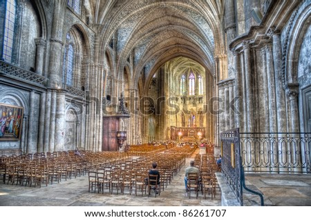 Interior of the Cathedral of Saint Andre located at Bordeaux, France - stock photo