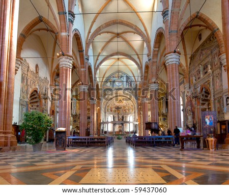 Interior of the Cathedral of St Maria Assunta in Verona Italy - stock photo
