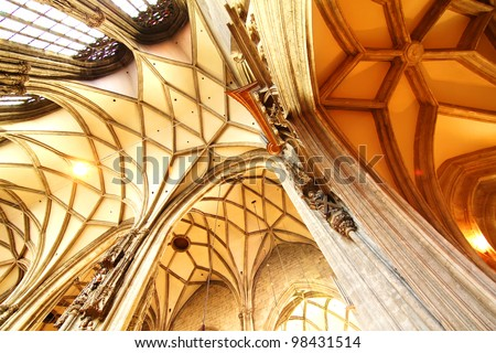 Interior of the Cathedral of St. Stephan in Vienna, Austria.s