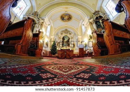 interior of the Catholic Church in Stefultov, Slovakia - stock photo
