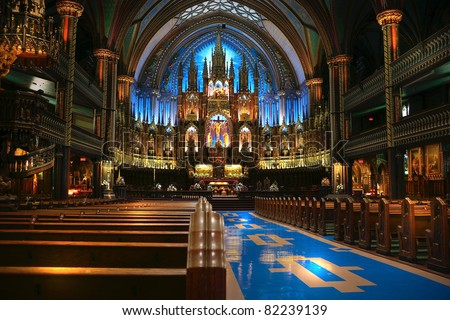 Interior of the catholic church in Torornto, Canada - stock photo