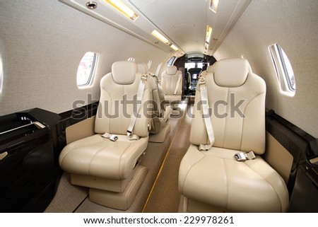 Interior of the Cessna Sovereign form the rear to the cockpit - stock photo