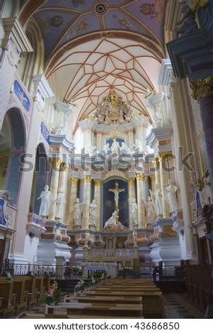 interior of the church, Kaunas, Lithuania - stock photo