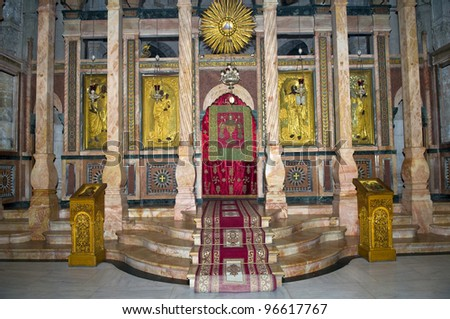 Interior of the church of the Holy sepulcher in Jerusalem , Israel - stock photo