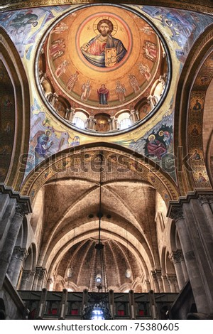 Interior of the Church of the Holy Sepulchre in Jerusalem - stock photo