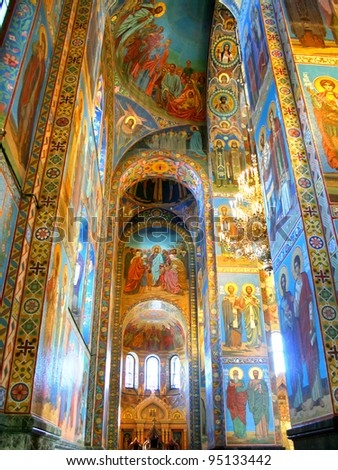 Interior of the Church of the Savior on Spilled Blood in St. Petersburg, Russia - stock photo