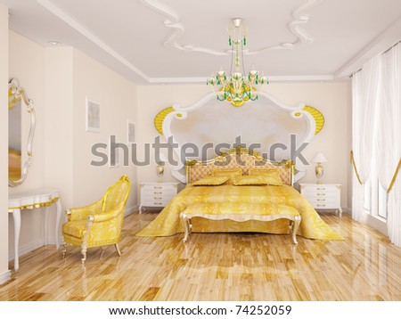 Interior of the classical sleeping - stock photo