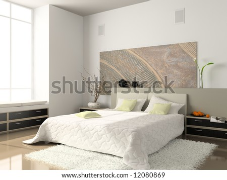 Interior of the comfortable bedroom 3D rendering. Photo on magazine was made by me, I uploaded model's release