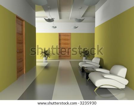 Interior of the corridor in office 3D rendering - stock photo