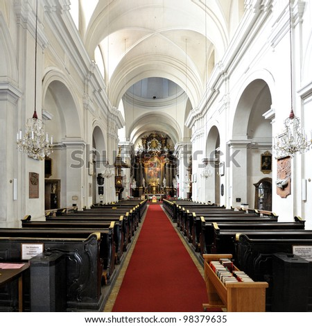 Interior of the Dreifaltigkeitskirche or Church of the Holy Trinity in Vienna, Austria. In 1827, the dead body of Ludwig van Beethoven was laid here. - stock photo