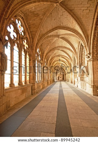 Interior of the famous cathedral of Burgos, Spain - stock photo