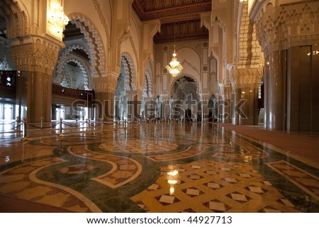 Interior of the Hassan II Mosque in Casablanca - stock photo