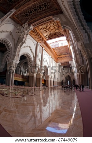 Interior of the Hassan II Mosque, Morocco, Casablanca.  Cedar wood ceiling.