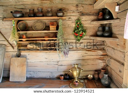 Interior of the kitchen room in the russian izba - stock photo