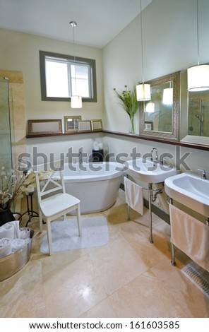 Interior of the luxury modern bathroom with marble floor and some decoration. Vertical. - stock photo