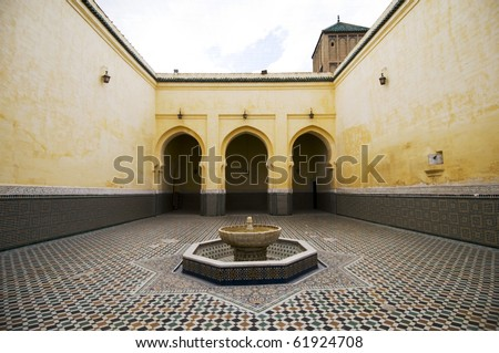 Interior of the mausoleum with ceramic mosaics floor - Meknes - Mausole? My Ismail - Best of Morocco - stock photo