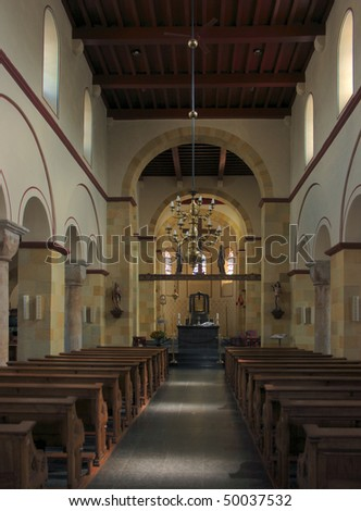 Interior of the medieval basilica of Susteren, Netherlands