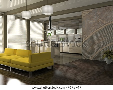 Interior of the modern apartment 3D rendering - stock photo